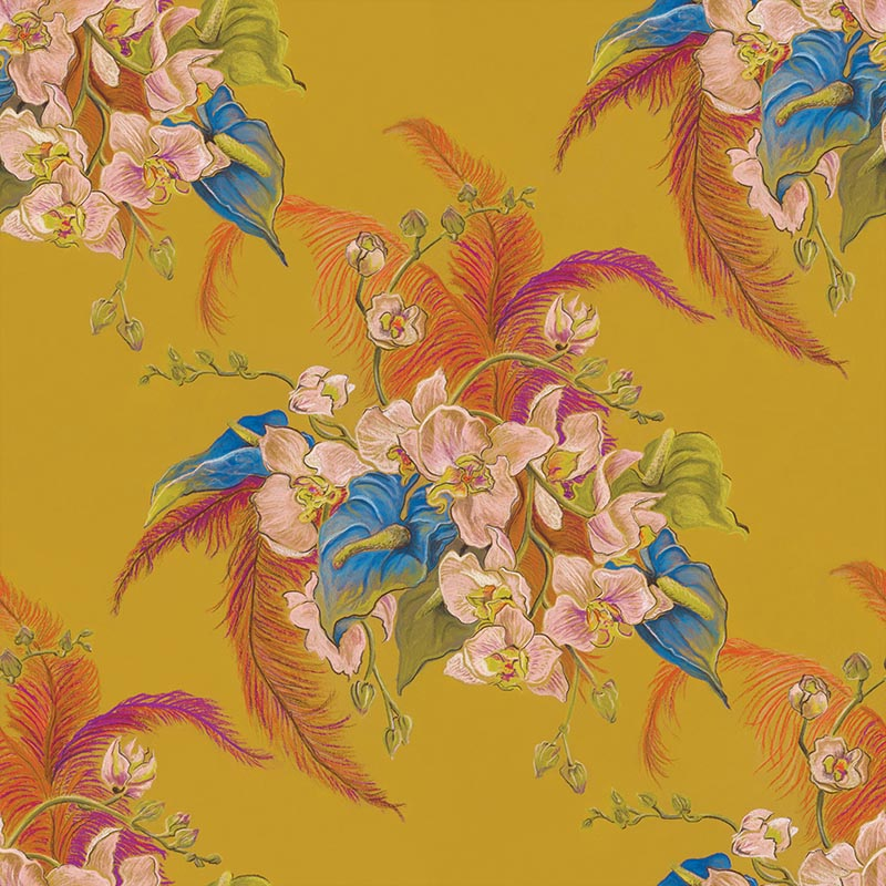 Eileen Chartreuse by Robin Sprong at SARZA. Botanical, Danica Andler, Robin Sprong, Wallpaper