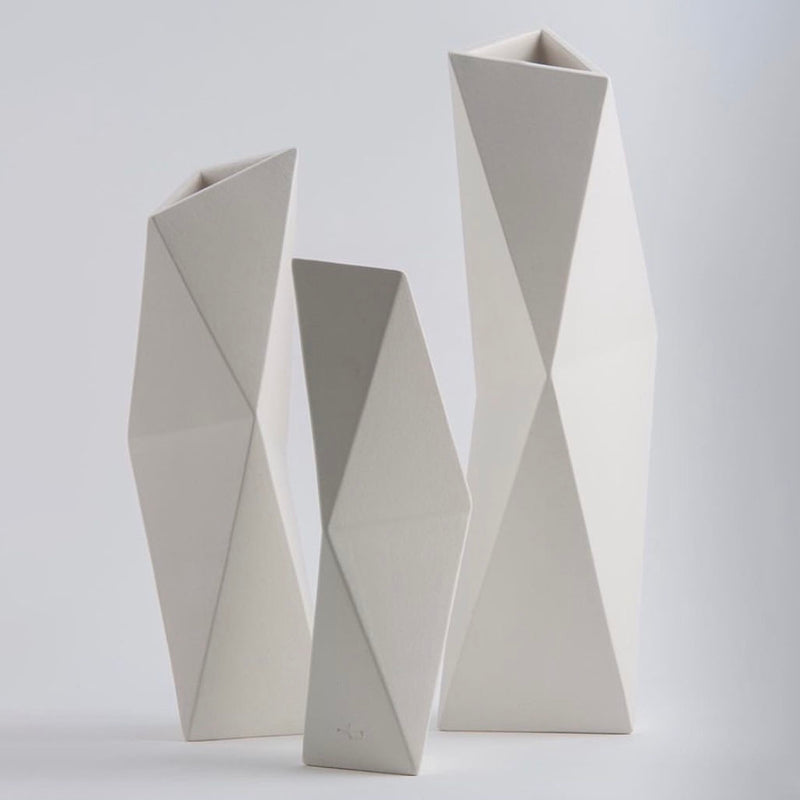 FACET VASE IVORY by Vorster & Braye at SARZA. Ceramics, decor, facet vase, homeware, IVORY, VASES, Vorster&Braye