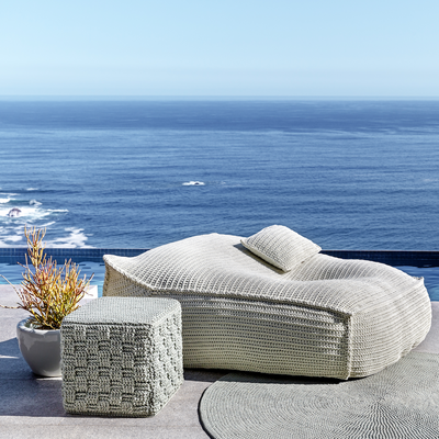 ROBALA LATTICE CUBE OTTOMAN BY FIBRE DESIGNS. Hand-braided Lattice Cube Ottomans from The Verandah Collection are hardwearing making them ideal for domestic and commercial environments.