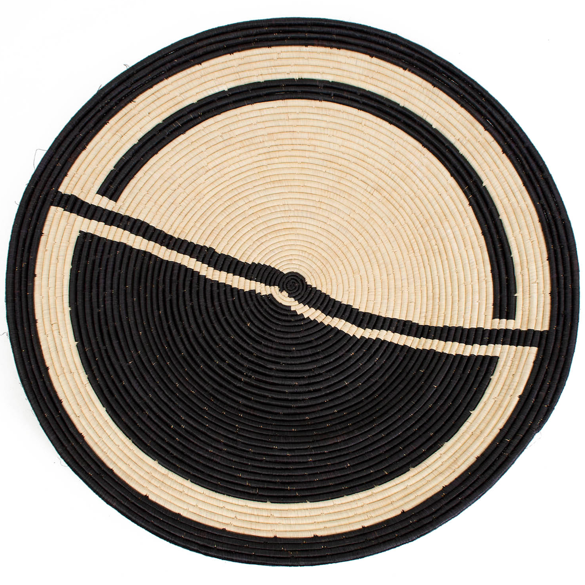GEO BLACK JUMBO RAFFIA PLATE by Kazi Goods at SARZA. decor, Kazi Goods, wall art, wall baskets
