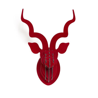 HEAD ON DESIGN NEW YORK USA KUDU TROPHY HEAD IN RED SUEDE