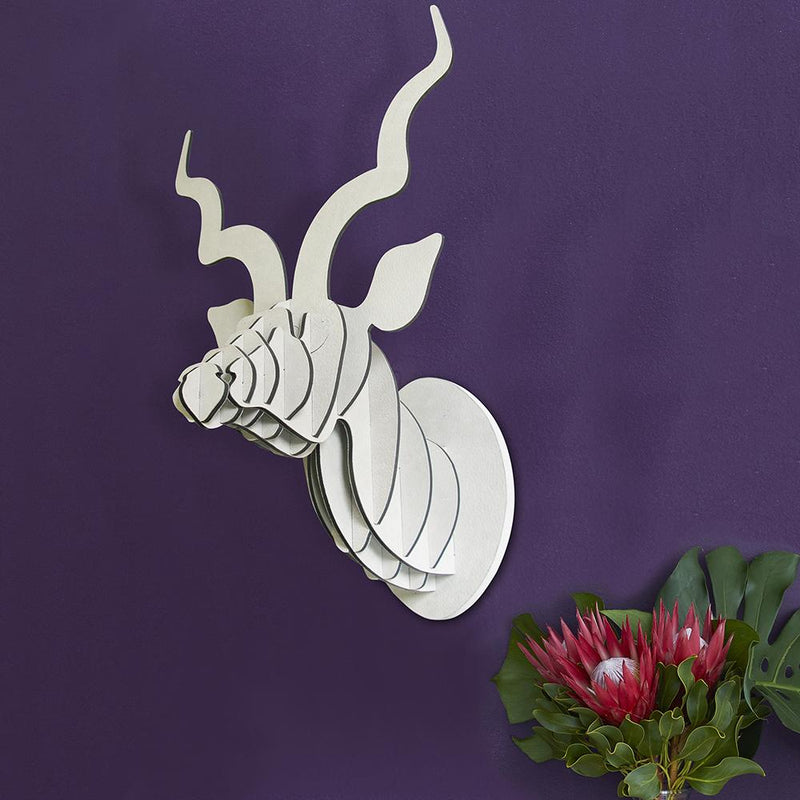 KUDU TROPHY HEAD IN WHITE SUEDE by Head on Design at SARZA. birch ply, decor, head, head on design, Kudu, leather, suede, wall art, Wall sculptures