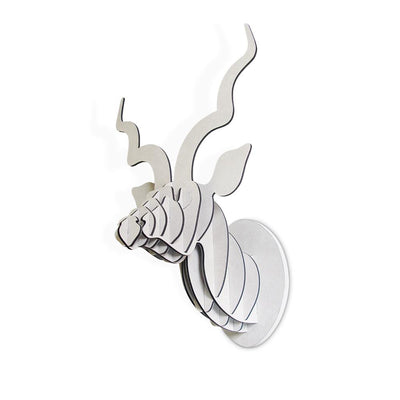 HEAD ON DESIGN USA NEW YORK KUDU TROPHY HEAD IN WHITE SUEDE