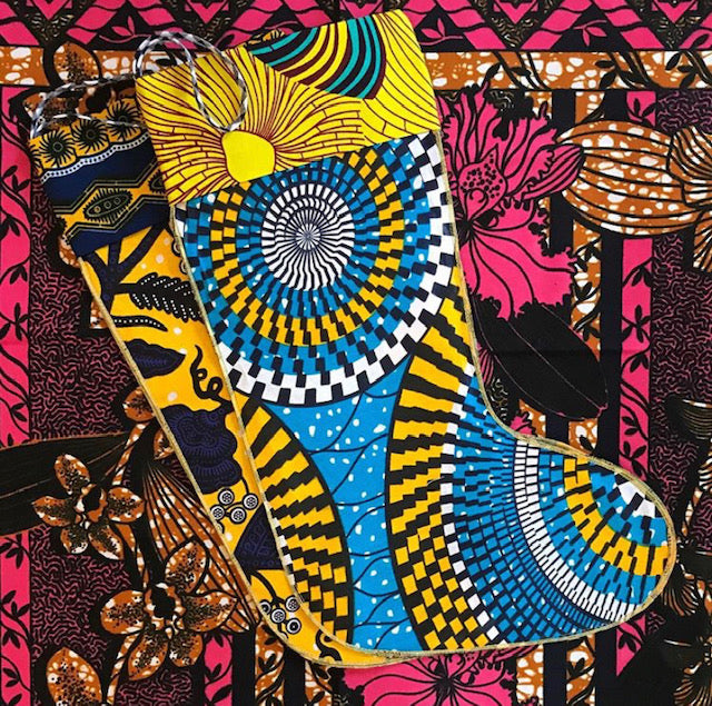 CHRISTMAS STOCKINGS WEST AFRICAN WAX COTTON PRINT