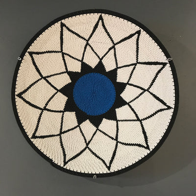 BLACK & WHITE WIRE PLATE WITH COLOR CENTRE by SARZA at SARZA. decorative, homeware, HWBWCB38, plate, PLATES, zenzulu