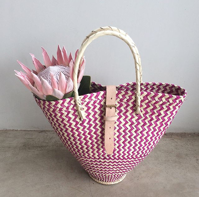 BUCKET BASKET NATURAL & PINK by Perfect_IMperfect at SARZA. accessories, bags, baskets, bucket basket, buckets, Perfect_IMperfect