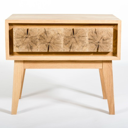 Instomi Bedside Table by Meyer Von Wielligh. A modular bedside table inspired by nature made with cracked oak, a timber surround and pull-out drawers. The Instomi Range (meaning stories in isiXhosa), tells the story of the oak tree from which it is made, with the pith of the oak tree central to the architectural silhouette of pieces found in the range.