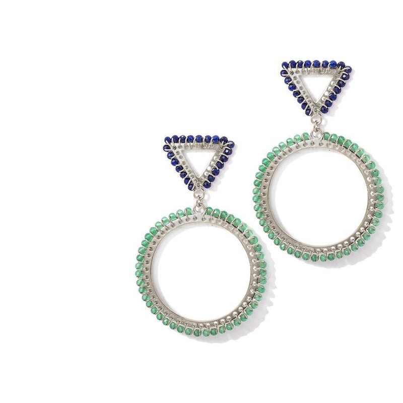 JACKPOTS EARRINGS - JEWELRY BY KIRSTEN GOSS . Single weave triangle and hoop stud earring with silver extruded by hand featuring lapis lazuli and green onyx. Beautifully handmade in 18kt yellow gold vermeil.