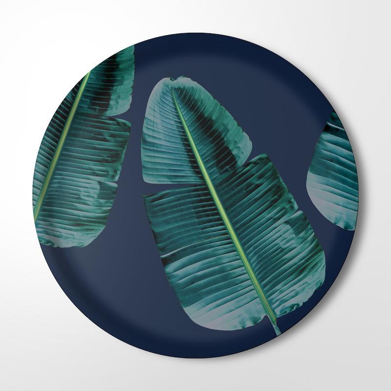 CLINTON FRIEDMAN USA NEW YORK WILD STRELITZIA DEEP BLUE SERVING TRAY