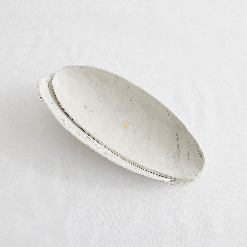 MARBLE CERAMIC BOWL OBLONG by Klomp Ceramics at SARZA. bowl, bowls, ceramics, Decor, gifting, Homeware, klomp, marble, oblong, tableware