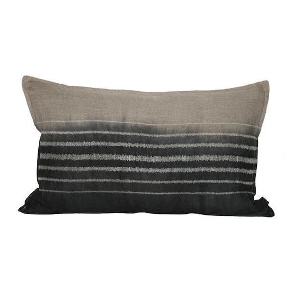 EVOLUTION PRODUCT USA NEW YORK EMBROIDERED STRIPE STONE ON STONE THROW PILLOW, DIPPED CHARCOAL