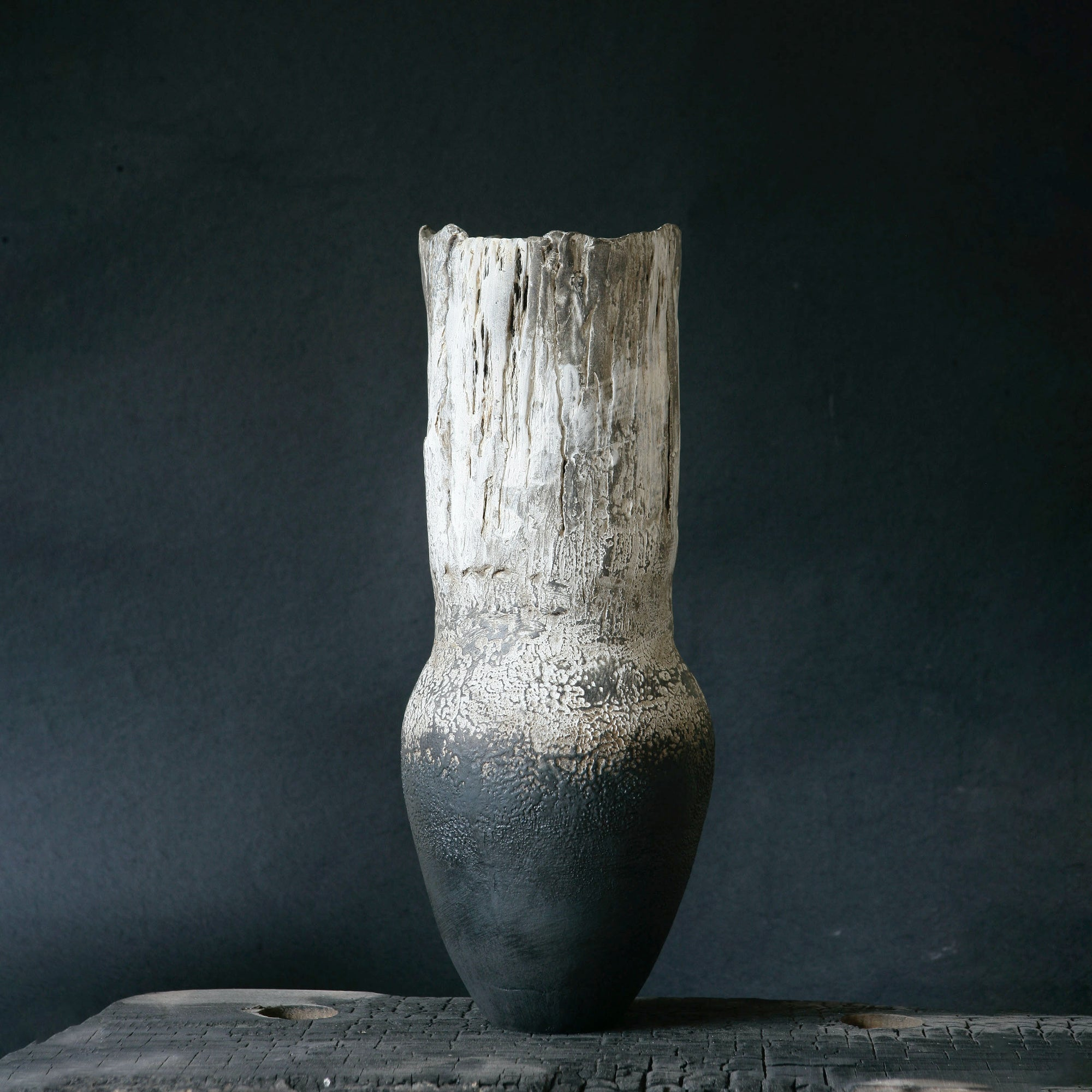 Large%20Vase,%20smoke%20white:charcoal%20with%20Karoo%20shale%20rock%20impression.jpg