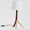 Thorn Table Lamp by Meyer Von Wielligh. This original table lamp with its tripod legs is inspired by the thorns of the iconic African thorn tree. This lamp has a white lamp shade.