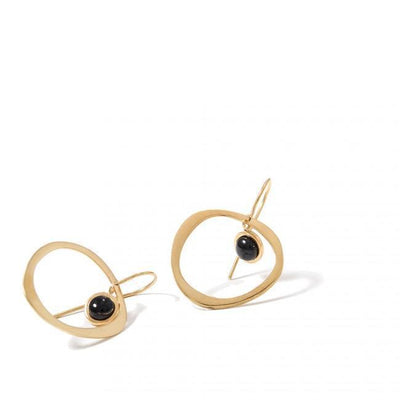 MINI VESPA EARRINGS BY KIRSTEN GOSS JEWELRY. Hand crafted organic hoop set with 4mm Black Onyx. Beautifully handcut in 18kt yellow gold vermeil.