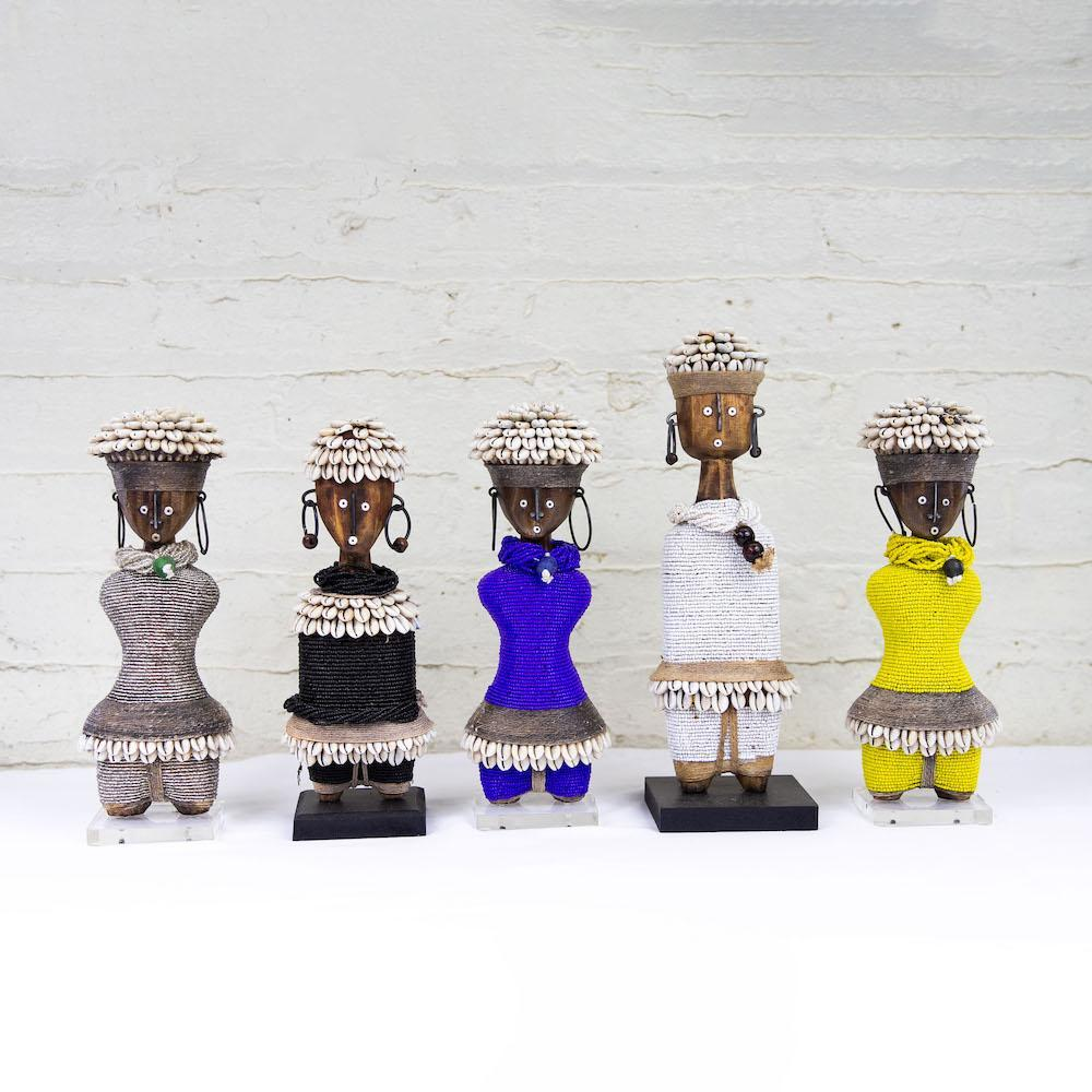 NAMJI DOLL by SARZA at SARZA. African Artefacts, African Artifacts, beaded, Decor, decorative, Homeware, Namji dolls, wood