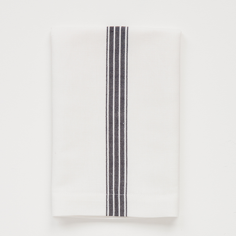 NAVY ON WHITE PROVINCIAL STRIPE NAPKIN by Mungo at SARZA. linen, linens, mungo, napkin, napkins, provincial stripe, serviettes, tableware