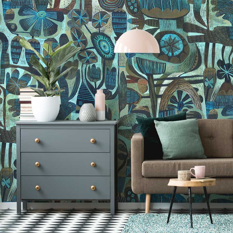 New Home by Robin Sprong at SARZA. Abstract, Botanical, Este Macleod, Floral, Robin Sprong, Wallpaper