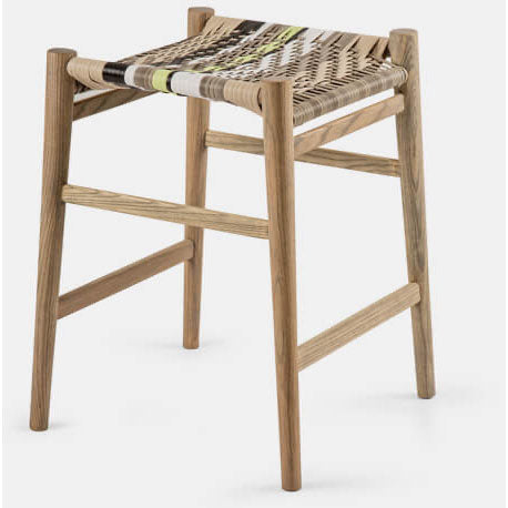 "The Nguni Backless Barstool 24"" by Vogel Design. Available in a selection of timbers and the woven seat is available in an assortment of patterns, weaves and colors."