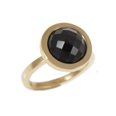 OXO BLACK SPINEL RING - JEWELRY BY KIRSTEN GOSS. A simple, yet striking ring featuring a black spinel stone, enclosed by 18kt gold vermeil.