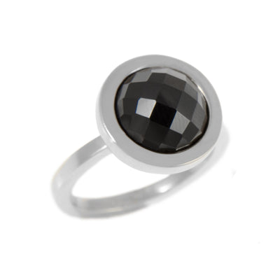 OXO BLACK SPINEL RING - JEWELRY BY KIRSTEN GOSS. A simple, yet striking ring featuring a black spinel stone, enclosed by Sterling Silver