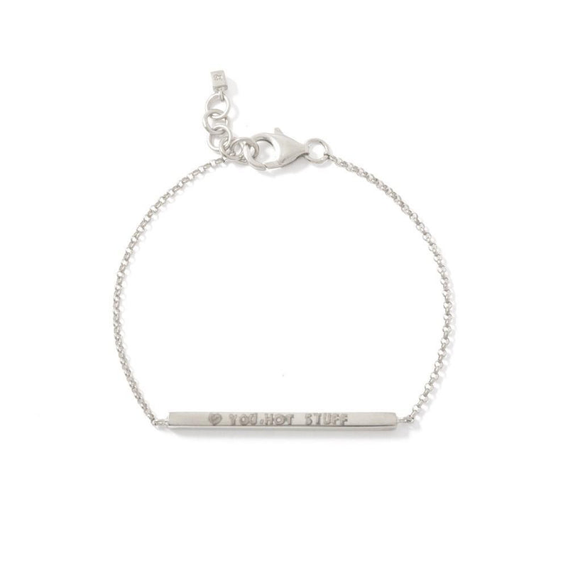 PINNY BRACELET - JEWELRY BY KIRSTEN GOSS. A delicate bracelet with rectangle tube detail which can be personalised with hand-stamped letters, numbers or symbols. Shown here in 18kt gold vermeil.