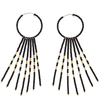 PORCUPINE EARRINGS - BLACK & GOLD BY SIDAI DESIGNS. Bold glass beaded gold fill hoop earrings decorated with 7 x 14K beaded gold fill bars and blocks of 24K gold plated beads.