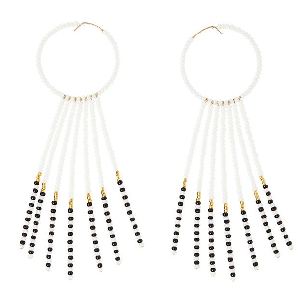 SIDAI DESIGNS USA NEW YORK PORCUPINE EARRINGS - WHITE, BLACK & GOLD