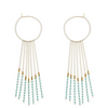 PORCUPINE EARRINGS WHITE, TURQUOISE & GOLD, JEWELRY BY SIDAI DESIGNS. Bold glass beaded gold fill hoop earrings decorated with beaded gold fill bars & blocks of gold plated beads.