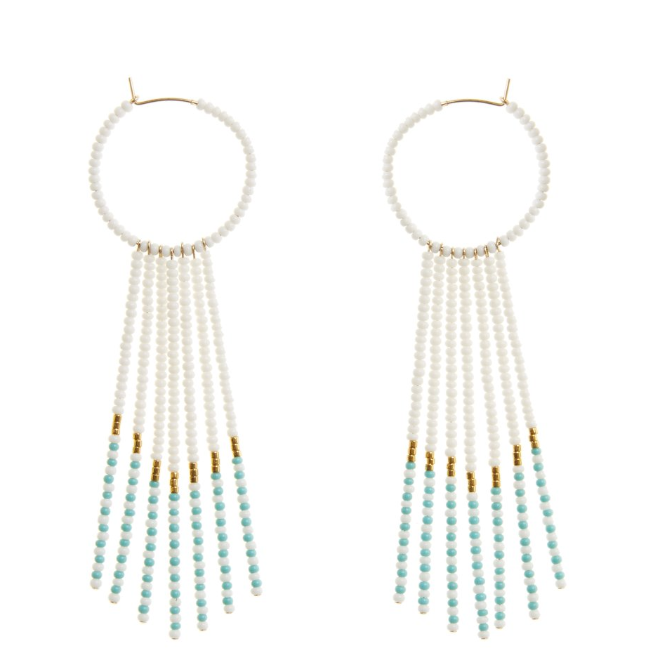 SIDAI DESIGNS USA NEW YORK PORCUPINE EARRINGS - WHITE, TURQUOISE & GOLD