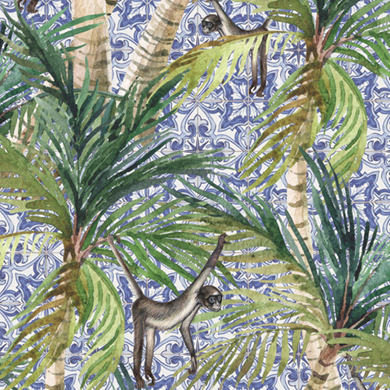 Palm Delft Monkeys by Robin Sprong at SARZA. Botanical, Franco Moz, Robin Sprong, Tropical, Tropical Cobalt Collection, Wallpaper, Wildlife