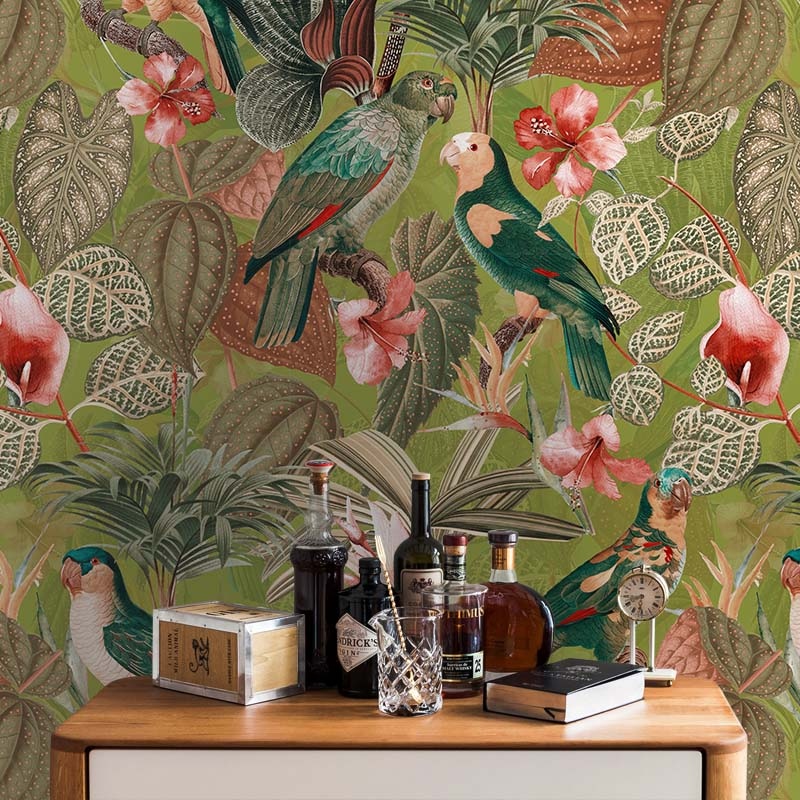 Parrots with Orchids and Hibiscus in Jungle – Orange