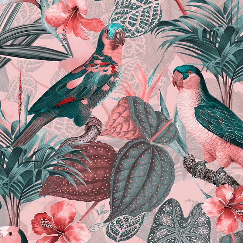 Parrots with Orchids and Hibiscus in Jungle – Pink Grey
