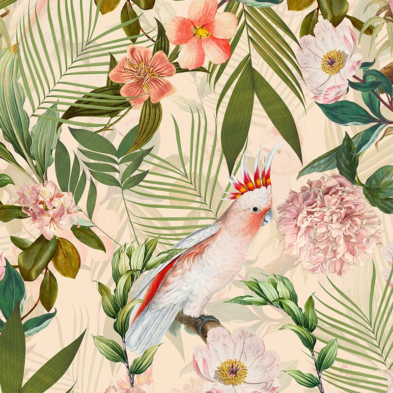 Pink Cockatoos Flowers And Palm Leaves – peach