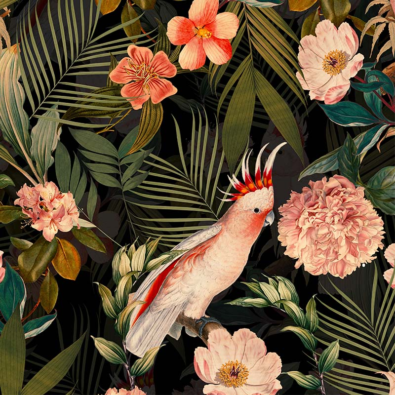 Pink Cockatoos Flowers And Palm Leaves – shiny night by Robin Sprong at SARZA. Botanical, Floral, Robin Sprong, Uta Naumann, Wallpaper, Wildlife