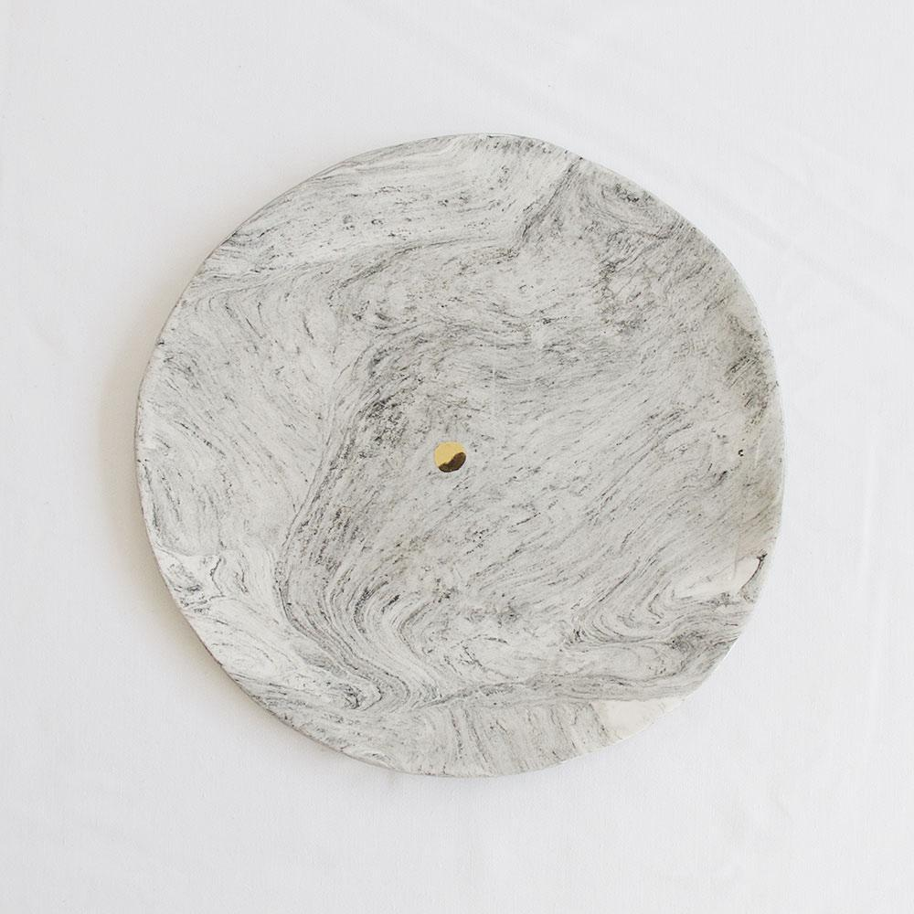 MARBLE CERAMIC PLATE LARGE WITH GOLD DOT DETAIL by Klomp Ceramics at SARZA. ceramics, gold, gold lustre dot, klomp, marble, plate, PLATES, serving plates, tableware