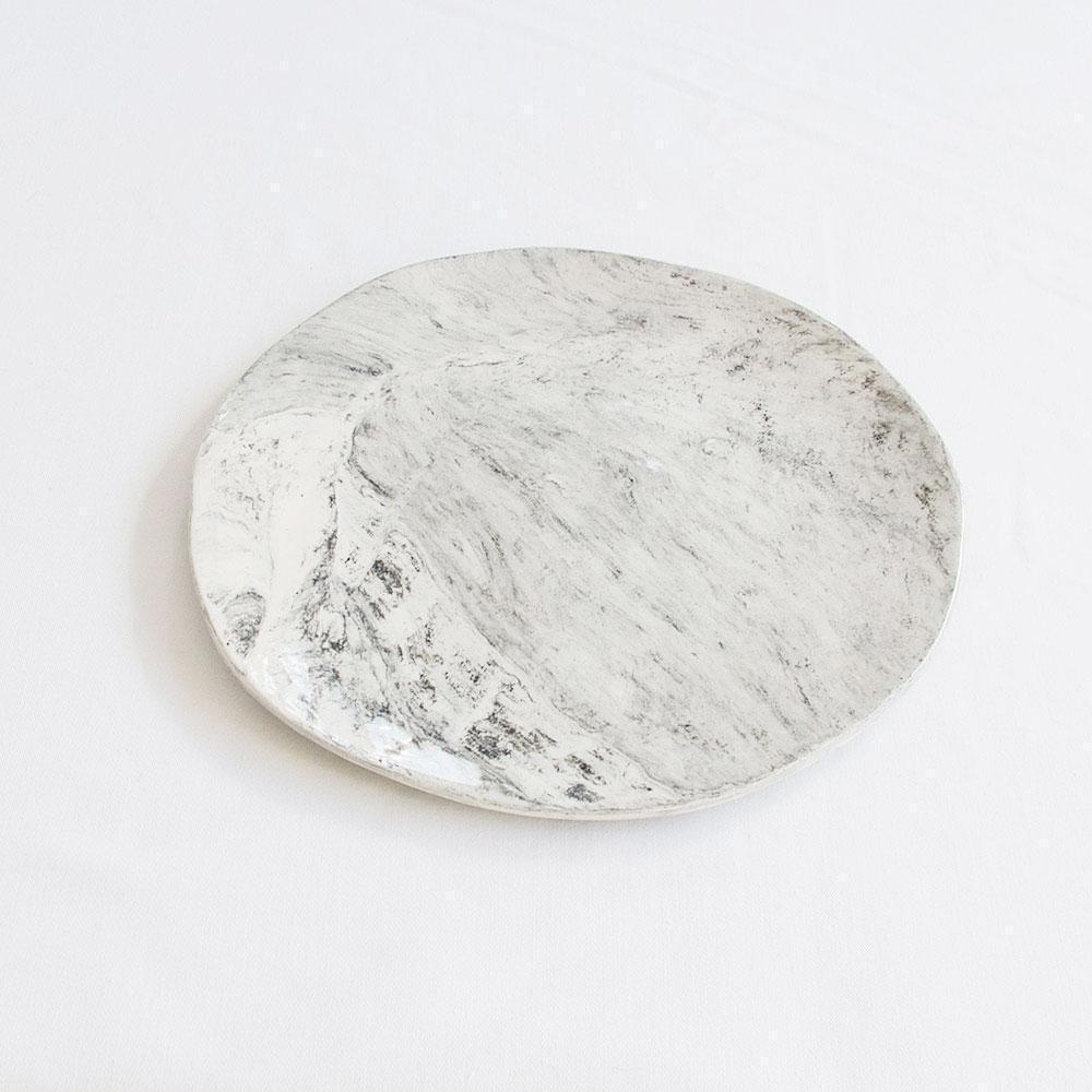 MARBLE CERAMIC PLATE LARGE by Klomp Ceramics. A marbled black, white and grey stoneware serving or cake plate. Clear glazed on top, unglazed underneath.