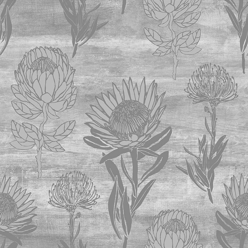 Protea Combo – Concrete by Robin Sprong at SARZA. Floral, Robin Sprong, Textures, Tharien Smith Proteas, Wallpaper