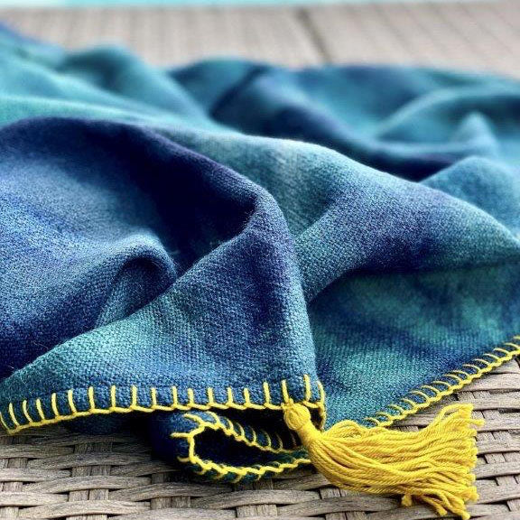 ALPACA THROW - TEAL & NAVY HAND-PAINTED WITH TASSEL