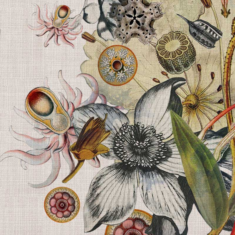 Botanical White Hessian by Robin Sprong at SARZA. Botanical, Floral, Robin Sprong, Room 13, Room 13 Collection, Wallpaper