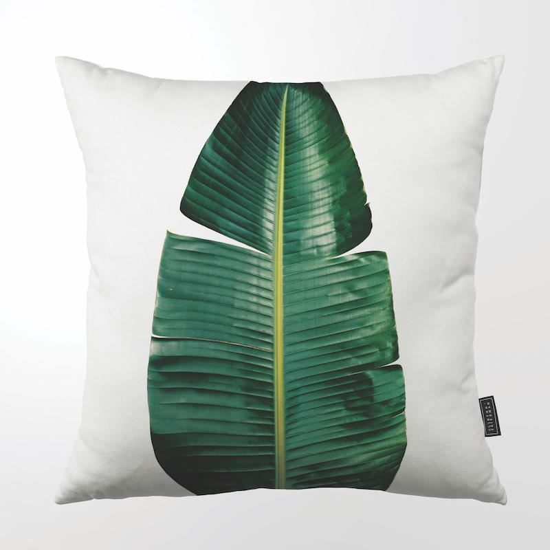 CLINTON FRIEDMAN USA NEW YORK STRELITZIA GREEN LEAF THROW PILLOW