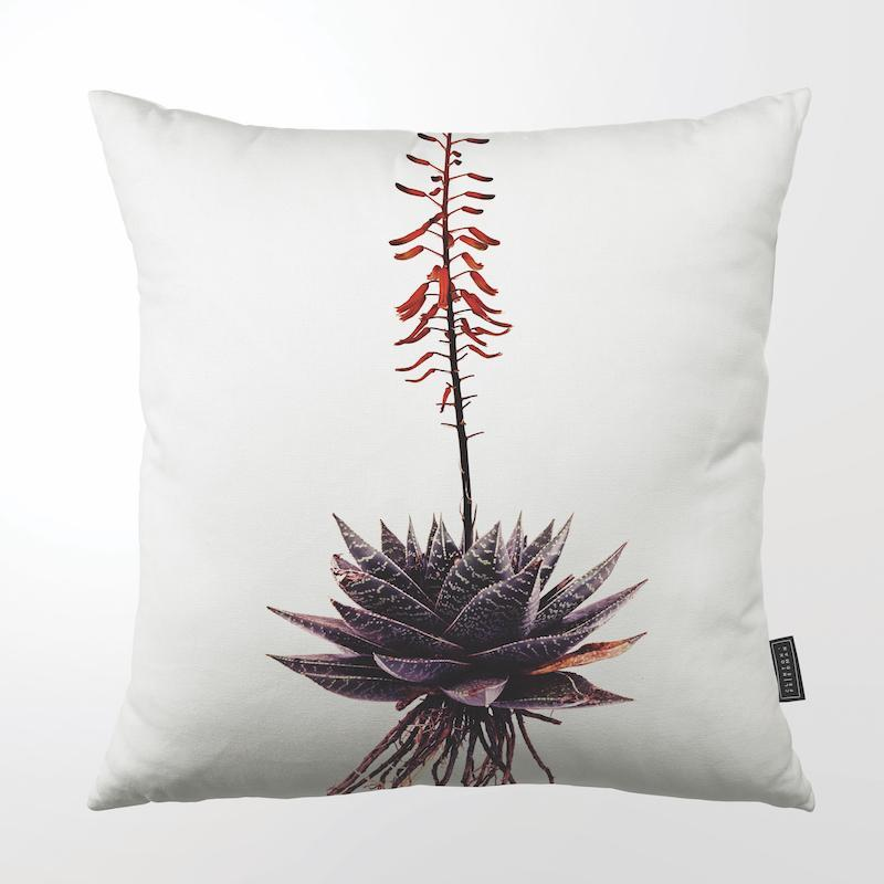 CLINTON FRIEDMAN USA NEW YORK RED FLOWERED PURPLE ALOE THROW PILLOW