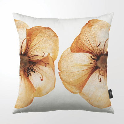 CLINTON FRIEDMAN USA NEW YORK COPPER BLOOM TWO HALF FLOWERS THROW PILLOW
