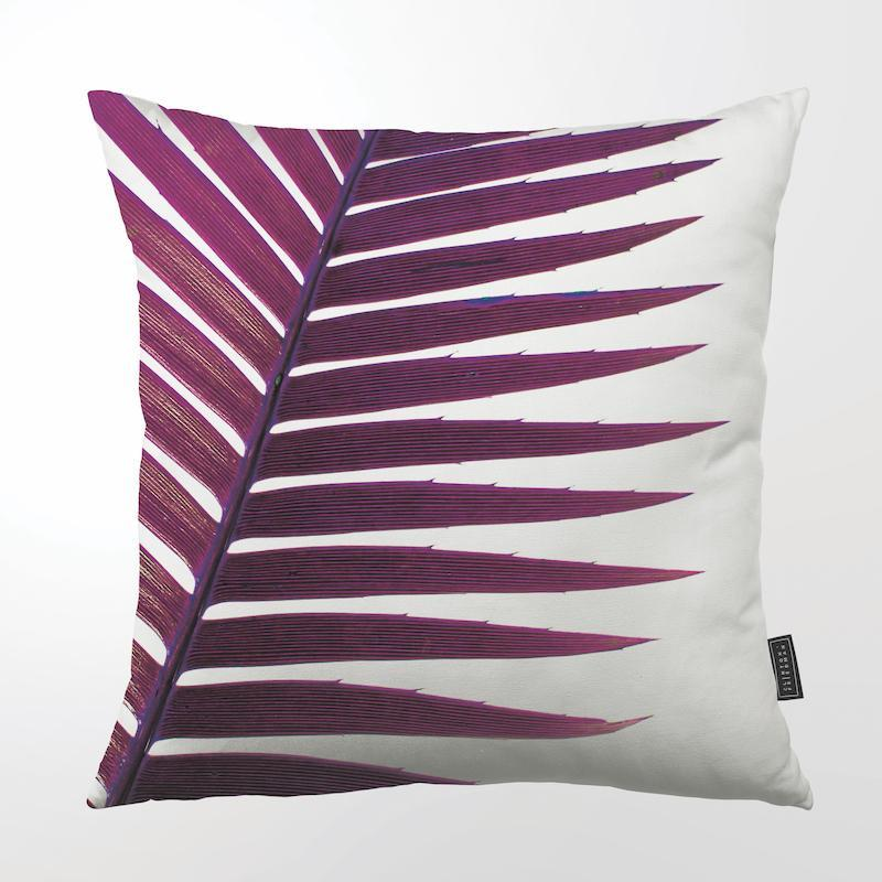 "PURPLE PALM THROW PILLOW by Clinton Friedman at SARZA. 22"", CF-TP-PUR-PAL-22, Clinton Friedman, cotton canvas, cushion cover, homeware, palm frond, purple, purple palm, SC600Z-172, scatter cushion, throw pillow, throw pillows, tropical blush range"