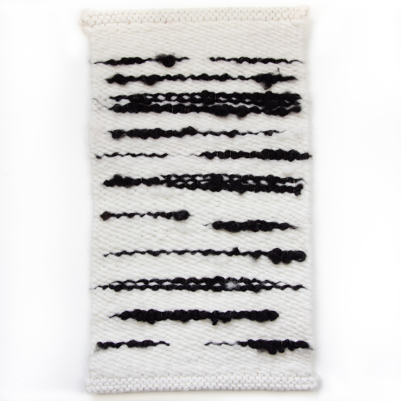 WOOLEN RUG - SMOOTH WEAVE IN NATURAL WHITE WITH BLACK INLAID STREAKS