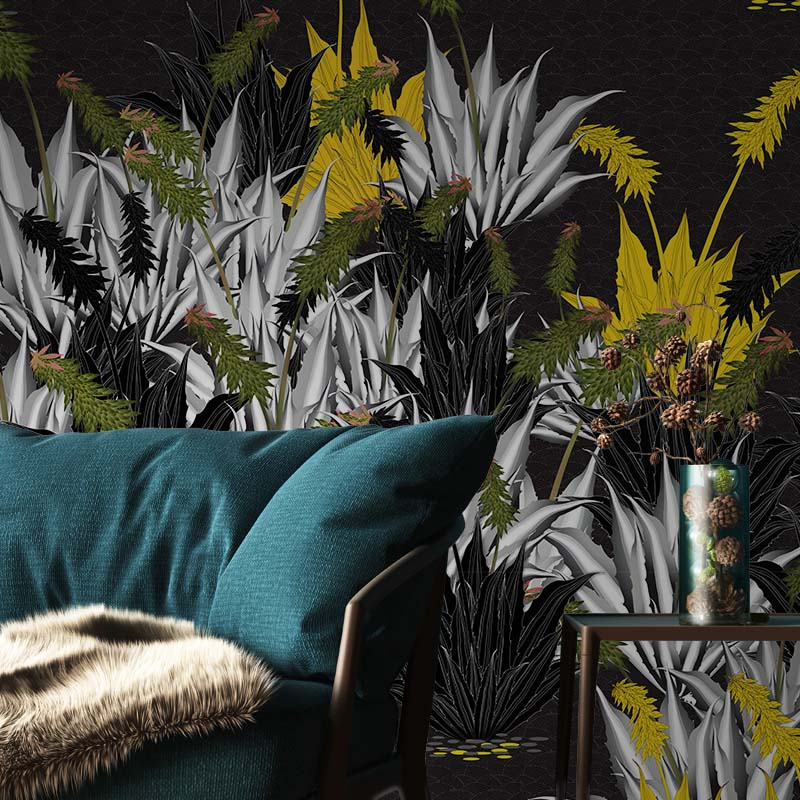 Succulant – Yellow by Robin Sprong at SARZA. Botanical, Floral, Robin Sprong, Sarah Arnett, Wallpaper