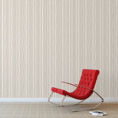 Simple Stripe Black by Robin Sprong at SARZA. Geometric, Robin Sprong, Skinny laMinx, Wallpaper