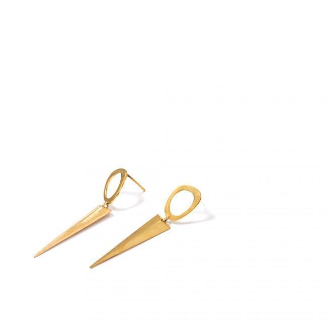 SPRITZER EARRINGS - JEWELRY BY KIRSTEN GOSS. Hand crafted organic spun drop studs, featuring a spike. Beautifully handmade in 18kt yellow gold vermeil.