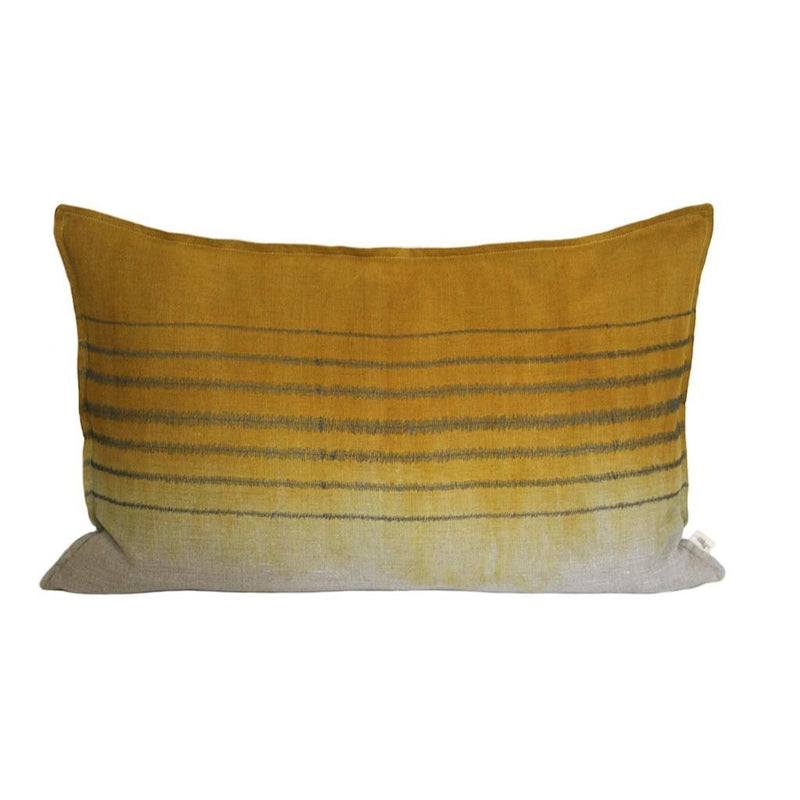 EMBROIDERED STRIPE CHARCOAL ON STONE THROW PILLOW, DIPPED