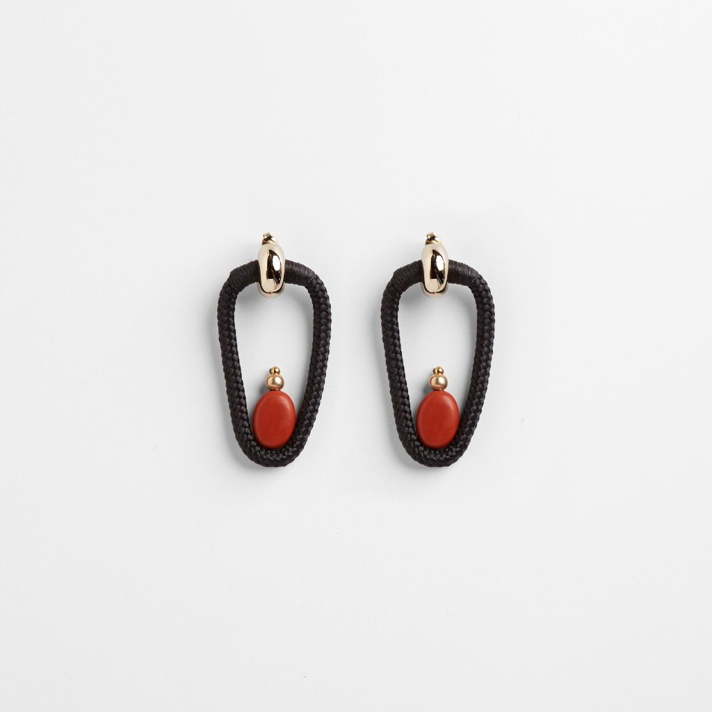 TERRACOTA EARRINGS - JEWELRY BY PICHULIK. Rope embellished with wax cord, brass bead and jasper bead. These earrings come with removable 22 carat electroplated earring shell.