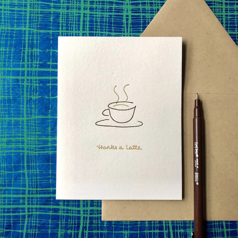 THANKS A LATTE by Albertine Press at SARZA. gift cards, gifting, greeting cards, stationery, Thank-you cards, Thanks a latte